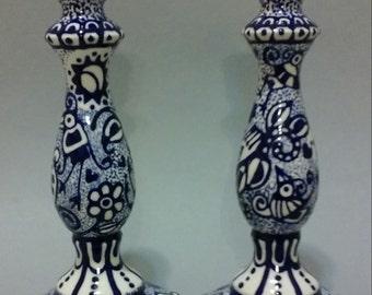Blue and White Shabbat Candlesticks