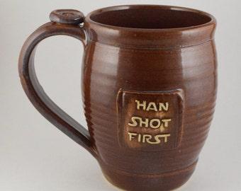 Han Shot First mug, brown, #103, 16oz