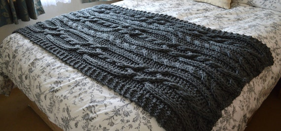 Large Chunky Cable Hand Knit Blanket Throw Cinder Grey