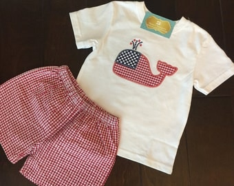 3t Patriotic Whale Appliqué Shirt Only