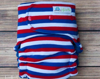 """Hybrid Fitted Cloth Diaper- """"Red, White, and Blue Stripe"""""""