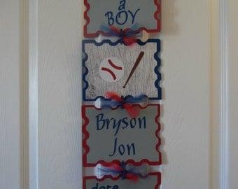 Baseball Hospital Banner- Baby Boy Hospital Banner- Baseball Baby Shower- It's A Boy Baseball Sign- 4 cards