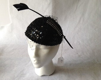 Black Sequin Pillbox Hat with Black Birdcage Veil with Arrow head feather - Black Merry Widow Feather Hat - Black Formal Church Hat
