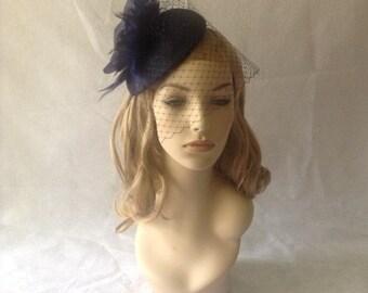 Navy Blue Flower Fascinator, Navy Birdcage veil, Navy Wedding Fascinator, Navy Bridal Hat, Navy Flower Hat, Navy Birdcage Fascinator