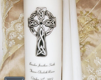 Wedding Unity Candles, Personalized Celtic Cross Unity, Wedding Candles, Customized Wedding Candles, Large Set, Anniversary Candles