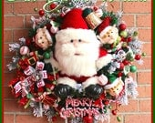 Large Santa and Elves North Pole Christmas Wreath, peppermint, Candy garland, silver sleigh bells, red gold green, icicles
