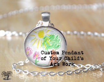 Custom Kid Necklace - Custom Kid Drawing Necklace - Custom Kid's Art Work Necklace