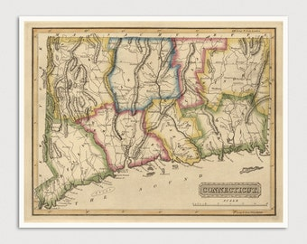 Old Connecticut Map Art Print 1817 Antique Map Archival Reproduction
