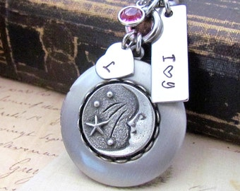 I love you to the Moon Personalized Locket Necklace, Custom Hand Stamped Heart Initial Swarovski Birthstone Silver Moon Locket Necklace