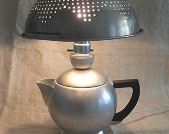 Aluminum Lamp Upcycled from Vintage Kitchen Aluminum Tea Kettle + Colander