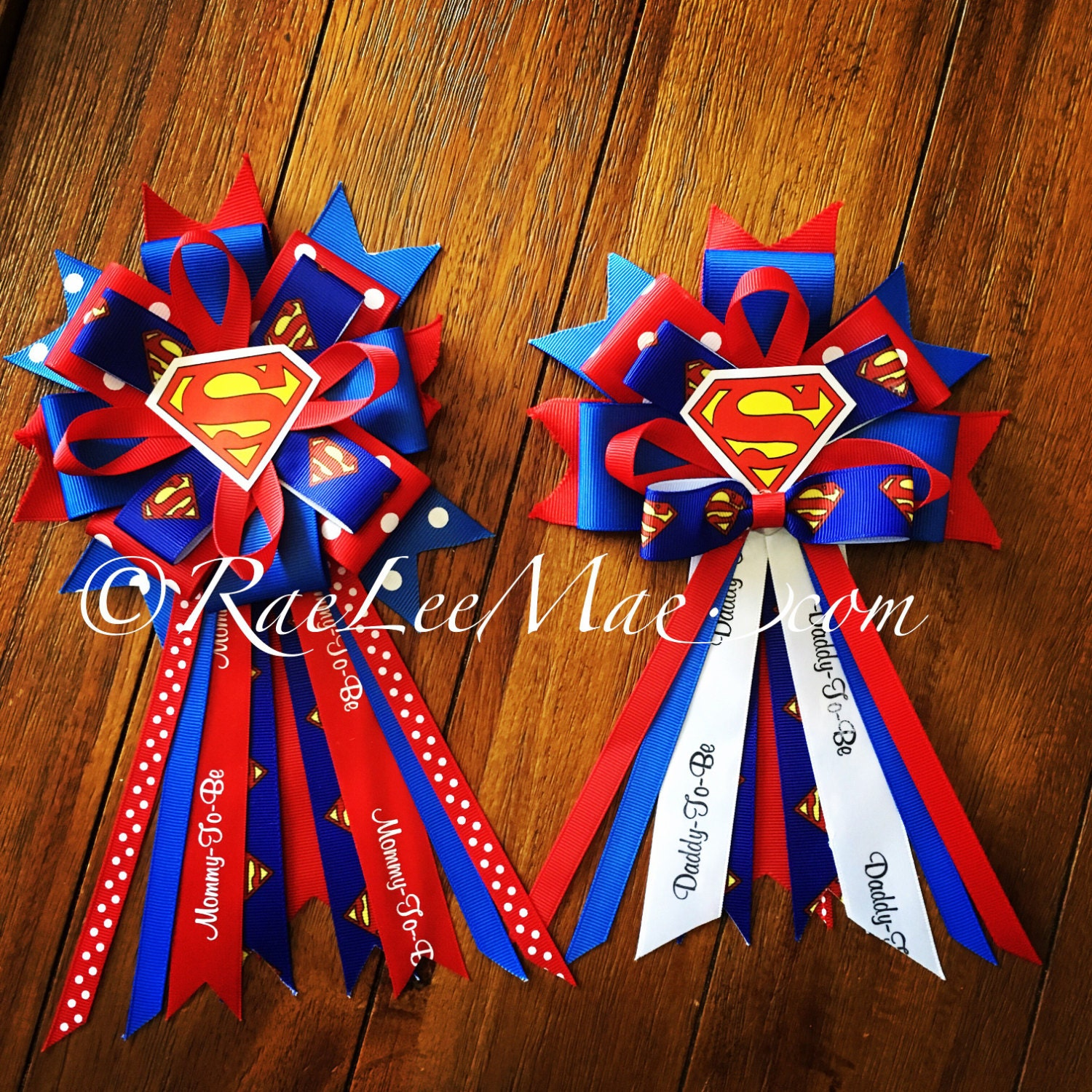 Superman Baby Shower Corsage/Mommy-To-Be Corsage & Daddy To