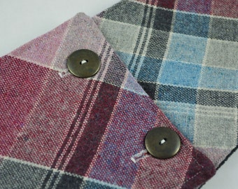 Wool Purple/Gray Plaid Fleece Lined Buttoned Cowl