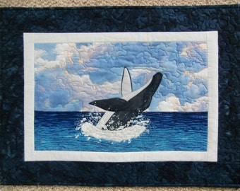 Landscape Art Quilt, Humpback Whale, Seascape, Beach Decor, Quilted Wall Hanging, Fiber Art, OOAK, Unique, Handmade in Hawaii, 24 x 18