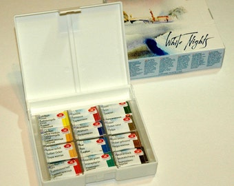 Watercolor Paint Travel Set Professional Artist WHITE NIGHTS 12 Colors 2.5 ml RUSSIA