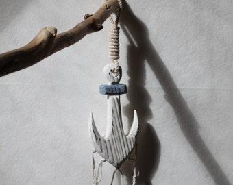 macrame wind chime, sea glass sun catcher, macrame and seaglass mobile wood anchor handmade