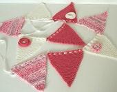 Knit Baby Bunting, Pink Baby Garland, Nursery Bunting, New Baby Gift, Nursery Wall Decor, Baby Shower Garland, Nursery Flags