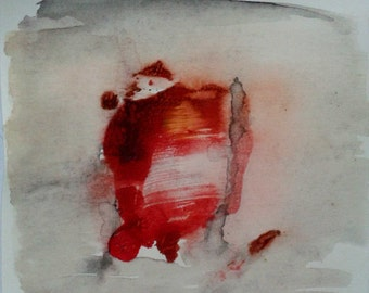 """Breakthrough 2. Abstract watercolor painting, original Grey, red and pink 5""""x 5"""" Minimalist fine art Small square painting. Series"""