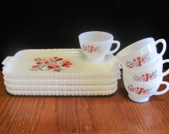 Primrose Milk Glass Snack Set Red Flowers 4 Cups and Trays