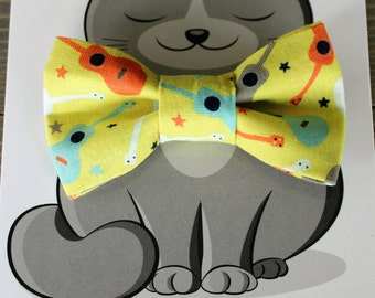 Guitars, Dog Bowtie, Cat Bow Tie, Collar Accessory, Cat Costume, Pet Bowtie, Gift for Cat, Handmade, Musical Instrument, Yellow, Music