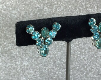 Vintage Aqua Rhinestone Earrings