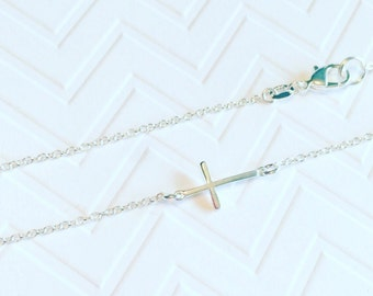 Small Sterling Silver Sideways Cross Necklace