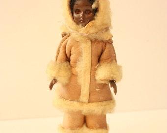 Vintage Carlson Eskimo Native American Doll with Blinking Eyes