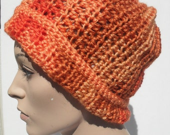 Orange Crochet hat-Orange Crochet scarf-Drawstring hat-Dreadlock hat-Beanie-Slouchy hat-cowl-Womens hat-Teen headband-Gift for her-Gift idea