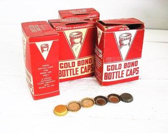 Vintage Gold Bond Bottle Caps