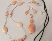 Fire Agate, Pink Peruvian Opal, Chalcedony and Rose Quartz Pendant Reversible Necklace 5 Pc Set