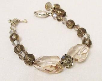 Smoky Quartz Jewelry, Smokey Quartz Bracelet, Smoky Quartz Handmade Crystal Bracelet, Multishaped, Natural Healing Crystal Dangle Bracelet