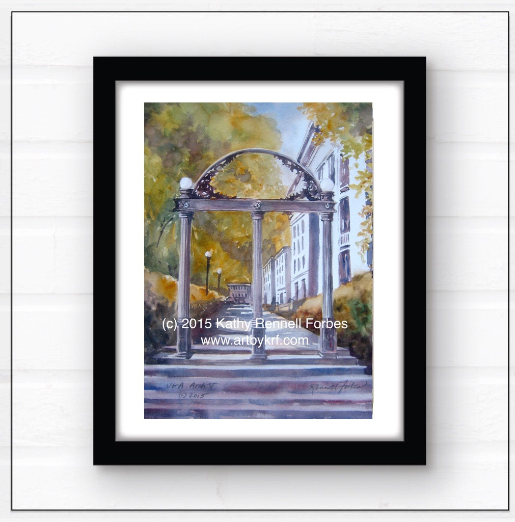 uga arch v original watercolor size 11x15 university of zoom