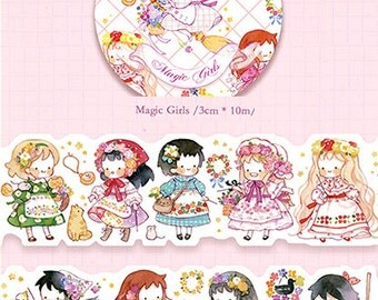 1 Roll of Limited Edition Irregular Washi Tape- Magic Girls