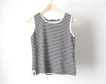 90s striped OXFORD tank top BLACK & WHITE
