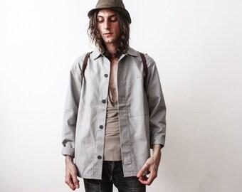 Vintage Work Jacket 1960s Grey WorkWear Workers Jacket Old Industrial Clothing Summer