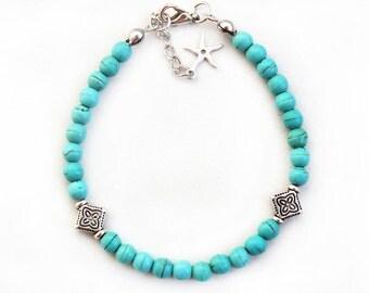 Turquoise bracelet, turquoise stone bracelet, natural stones, best friend birthday gift, mother gift, summer bracelet