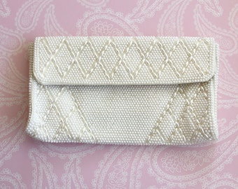 Vintage White Clutch, Pearls Handbag Made in Japan - Wedding or Evening  Bag Clutch -  Party Clutch - Made in Japan - Vintage Handbag