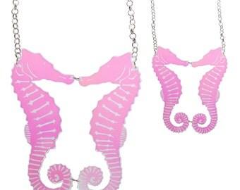 Kissing Seahorses necklace - laser cut iridescent acrylic