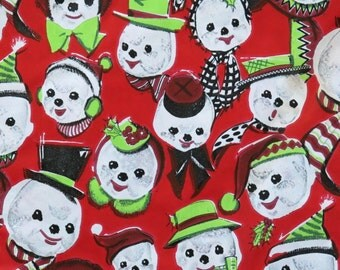 Vintage Kaycrest CHRISTMAS Gift Wrap - Wrapping Paper - ADORABLE SNOWMEN - with coordinating gift tag - 1950s