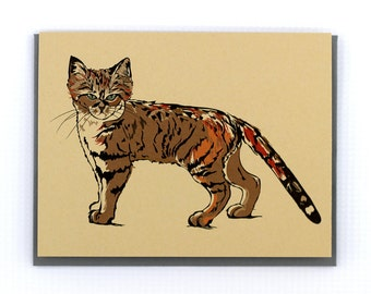 Sand Cat Tabby Stationery Note Greeting Card