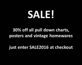 SALE! 30% off - pull-down chart, educational poster, wall clock, typewriter and vintage homewares - just enter code SALE2016 at checkout