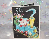 Vintage Unused Christmas Greeting Card with Santa Claus and Train Glitter and Handmade Envelope