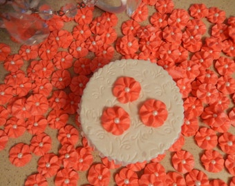 100 Coral Royal Icing Drop Flowers Edible for cupcakes, cakes, cookies, cakepops