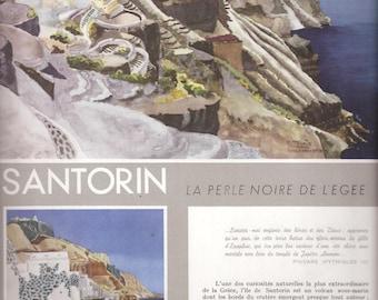 1958 SANTORINI THIRA Greek Islands 2+2+2 pages Original Greek Vintage Magazine APXITEKTONIKH Ready To Frame