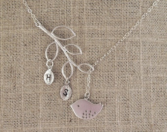 Personalized Silver Bird Necklace - Initial Leaves Custom Necklace - Sparrow Twig Necklace - Sterling Chain - Mom Gift for Her - Bird Nature