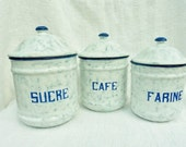 French Vintage , French Enamelware, Graniteware,Snow On The Mountain ,Café  Sucre,Farine, French Blue, French Kitchen,Vintage Kitchenalia