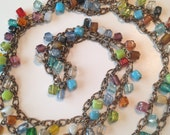 """Vintage Glass beads Necklace ~ 40"""" Long ~ Multicolored ~ Festive"""