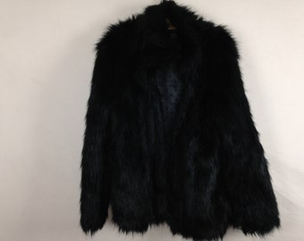 black faux fur coat size L