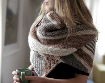 Rivers Wrap PDF Knitting Pattern Modern Textured Garter Stripes
