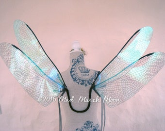Dragonfly Iridescent Fairy Wings, large size wearable fairy wings, poseable fairy costume wings