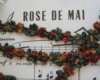 1y Vintage French Green Ombre Rust Yellow Coral Red Rococo Rosette Flower Ribbon Hat Doll Trim Scrapbook Paper Crafting Embellishment France